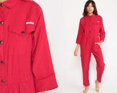 80s Jumpsuit Red Onesie Tapered Pant Button Up IDEAS High Waisted 1980s Vintage Pantsuit 3/4 Sleeve Medium Large