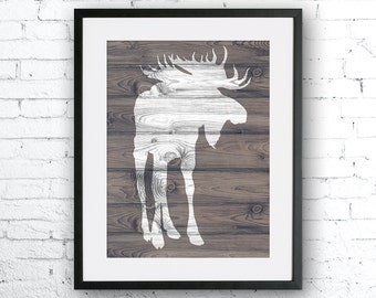 Moose art illustration, wood texture wall decor, nursery animal, moose painting , Animal silhouette, Home Decor, Gift for the home