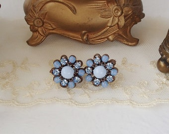 Pastel Blue Crystal Earrings. Rhinestone Jewelry in Vintage Style. Pastel Color Rhinestone Studs. Baby Blue Jewelry with Sparkly Rhinestones