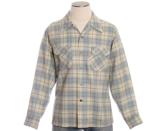 vintage 1960s mens Pendleton board shirt • light blue plaid loop collar shirt