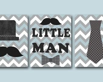 Little Man Kids Wall Art Baby Boy Nursery Art Decor Children Art Print Baby Nursery Print Nursery Print Boy Art set of 3 Gray Blue