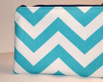 Turquoise and White Chevron Zipper Pouch, Small Zippy Tote, Makeup Bag for Purse, Golf Bag Pouch, Travel Case, Personal Items Holder
