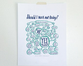 "11x14"" Should I Work Out Today? Flowchart print (COLOR)"