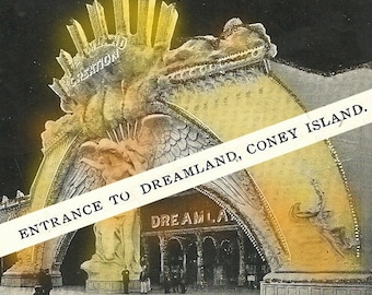 Entrance to Dreamland - Coney Island - Altered Postcard Images -  Digital Collage Sheet - Set of Two - Instant Download