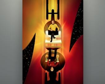 "Star Trek Inspired ""Captains"" 11X17 Art Print Poster by Herofied Enterprise Captain Kirk Captain Picard The Original Series Next Generation"
