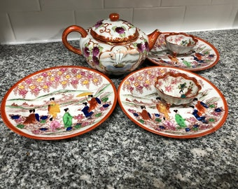 Vintage Decorative Porcelain Tea Set & Plates, Hand-Painted, Made in Asia - Good Condition