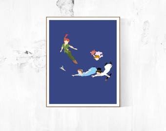 Peter Pan Characters Flying Minimalist Poster   Peter Pan Poster Disney Poster Disney Minimalist Captain Hook Tinker Bell Pixie Dust Disney