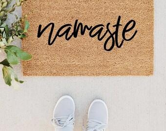 Namaste Doormat / Welcome Mat, Custom Door Mat, Namaste Sign, Cute Doormat, Home Decor