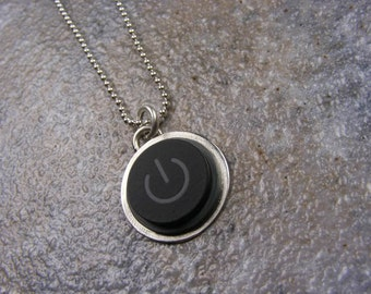 Power Up - Apple Computer, Sterling Silver, Handmade, Recycled, Black, MAC Power Button Necklace, made to order