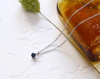 Tiny Sapphire Necklace 925 Sterling Silver September Birthstone Genuine Blue Sapphire