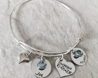 Personalized bangle bracelet with wedding date engagement date bride and groom names heart charm wedding gift bridal party wedding shower