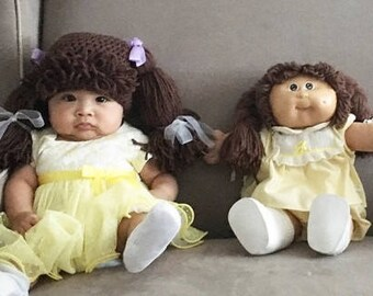 Cabbage Patch Kids Inspired Hat / Wig, Winter Hat, Baby Hat, Warm Hat, Girl Hat - Available in 7 sizes