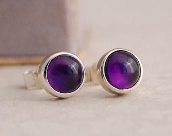 Amethyst Silver Studs | February Birthstone Earrings | Purple Amethyst Simple Studs | February Birthday Gift | February Birthstone Jewellery