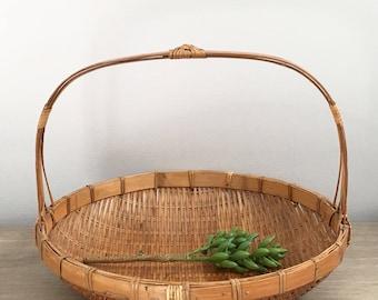 "Vintage Woven Basket 15"" Bamboo Handled Winnowing Gathering Basket Coastal Farmhouse Decor"