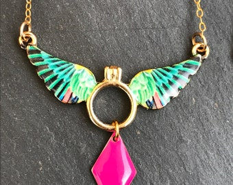 Pink colorful Hummingbird gold bib necklace