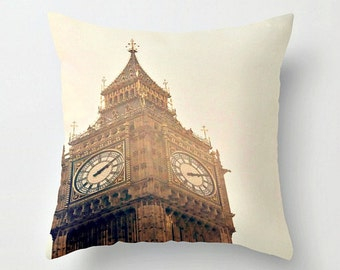 """18"""" London's Big Ben Clock Tower Throw Pillow Cover with Boho Tassel - Home Decor - Teen Room - Travel Photography"""