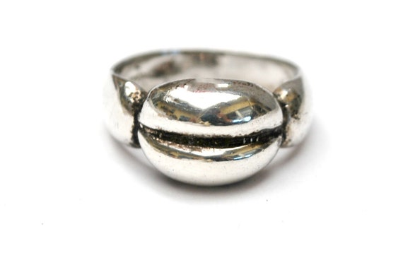 Sterling coffee Bean  ring - chunky silver band   - modern Mod design -  size 7 Ring