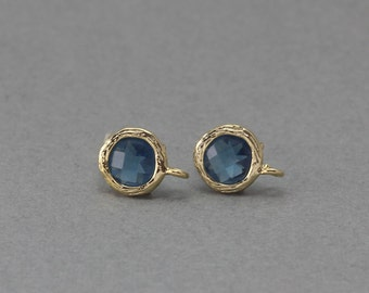 Montana Glass Post Earring . Earring Component . 925 Sterling Silver Post . 16K Polished Gold Plated over Brass  / 2 Pcs - CG016-PG-MN