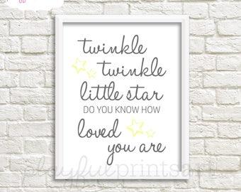 Twinkle Twinkle Little Star Print, 8x10, Instant Download