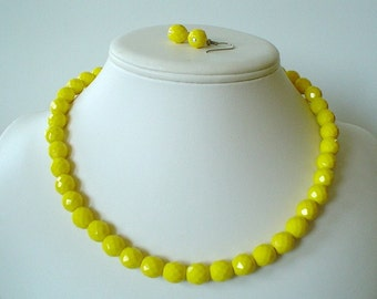 Chunky Canary Yellow Czech Glass Beaded Necklace Set     Great for Bridesmaid Gifts
