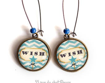 Earrings, wish, wish, poetic, sky blue, make a wish, Christmas gift idea