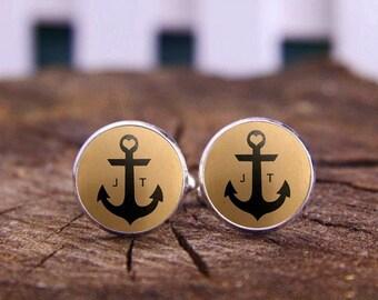 Sea Anchor Cufflinks, Custom Initial Cuff Links, Tie Clips, Monogram Cuff Links, Wedding Cufflinks, Vintage Cuff Links, Monogram Initials