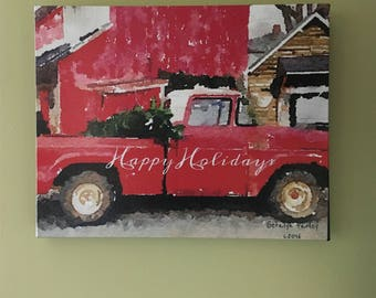"Canvas Wrapped 8""X10"" ""Red Truck HappyHolidays"" Original Photograph"