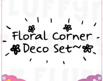 Floral Corner Sticker Deco Set || Planner Stickers, Cute Stickers for Erin Condren (ECLP), Filofax, Kikki K, Etc. || CS04