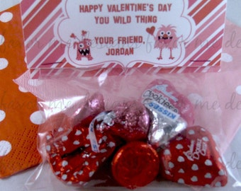 DIY PDF Treat Bag Topper- Monsters & Hearts Valentine Treat Bag Toppers