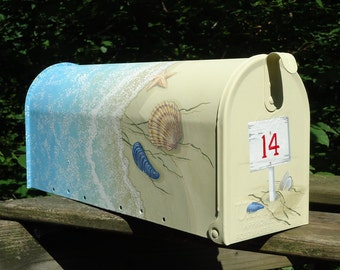 Hand Painted Mailbox of shells, starfish and waves, a combination of six painted around the box