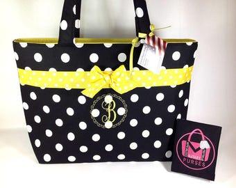 Polka Dot Monogram Handbag, Purse, Tote, Bag, RTS, Ready to ship, Custom, Handmade, Free Shipping
