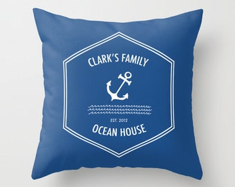 Custom Nautical Pillow Cover, Ocean House Decor, Custom pillow, ocean pillow cover, blue pillow, custom family pillow, hostess gift