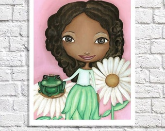 African American Princess Baby Girl Nursery Decor Crowned Frog Prince Pictures Little Black Girl Painting Print Pink & Green Tween Wall Art