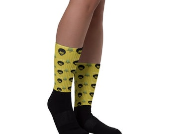 Yellow Bob Ross Socks