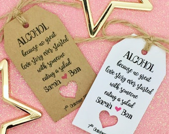 "Alcohol Favour, Wedding Gift Tags, ""Drink Me"" Bottle Alice in Wonderland"