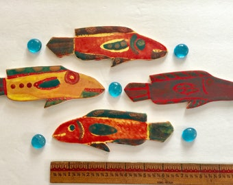 fish Mosaic handmade  tile 4 piece collection vibrant designer beach ocean tide pool OOAK stoneware set of whimsical fish