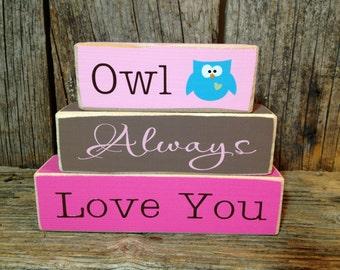 Valentine decor, Owl Always Love You, nursery blocks, mini stacker, owl decor, owl sign, owl blocks, valentine blocks, valentine sign