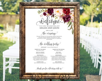 Wedding program Sign, Ceremony Program Sign, Welcome Wedding Sign, Burgundy, Marsala, Instant Download, Editable PDF, #A047