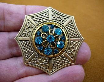 Aqua blue rhinestone flower bouquet textured octagon gold tone brass brooch pin pendant BB601-125
