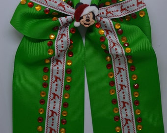 Mickey Mouse Christmas - Large Clip Bow