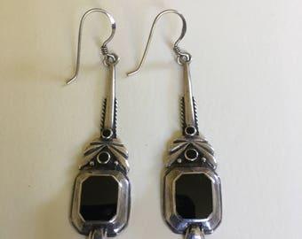 Sterling Silver 925 Earrings vtg drop dangle Onyx inlaid Art Nouveau style