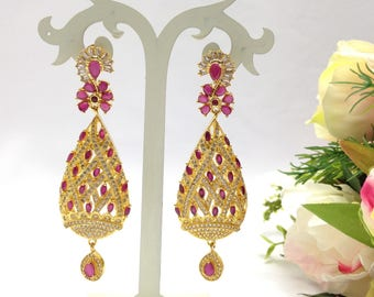 CZ American Dimonds Heavy Gold Plated Cubic Zirconia .Bridal Indian jewelry Earrings Set Indian Jewelry Handmade indian Jewellery