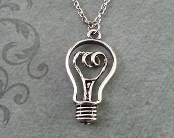 Lightbulb Necklace, Electricity Jewelry, Lightbulb Pendant, Inspirational Gift, Bright Idea Necklace, Lightbulb Charm Necklace Electric Gift