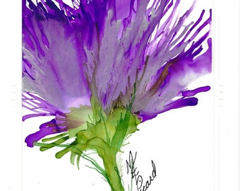 Purple Passion greeting card created with Alcohol Inks