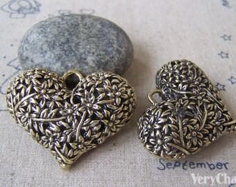 2 pcs of Antique Bronze 3D Filigree Heart Pendants 32x42mm HEAVY WEIGHT A4676