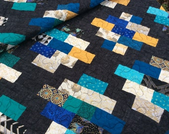 Modern Lap Quilt, blue, orange, gold, teal, Handmade Quilt, Homemade Blanket Throw, Quilts for Sale, Ready to Ship