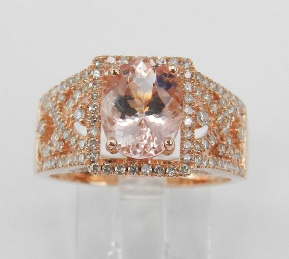 14K Rose Gold Morganite and Diamond Engagement Ring Size 7 Pink Gemstone