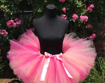 """Pink, peach and fuchsia Tutu, Adult cake smash tutus, Adult tutu, Multi pink adult tutu, Adult tutus for waist up 45 1/2"""" up to 55"""""""