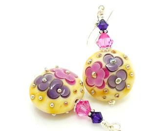 Pink Purple Earrings, Colorful Earrings, Lampwork Earrings, Glass Bead Earrings, Glass Earrings, Unique Earrings, Floral Earrings