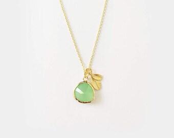 Apfelgrün Stein & Blatt - 925 vergoldete Halskette